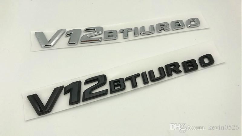 Haute qualité ABS plastique noir / argent V12 BITURBO Nombre Lettres Tronc Emblème Autocollant Badge pour Mercedes Benz