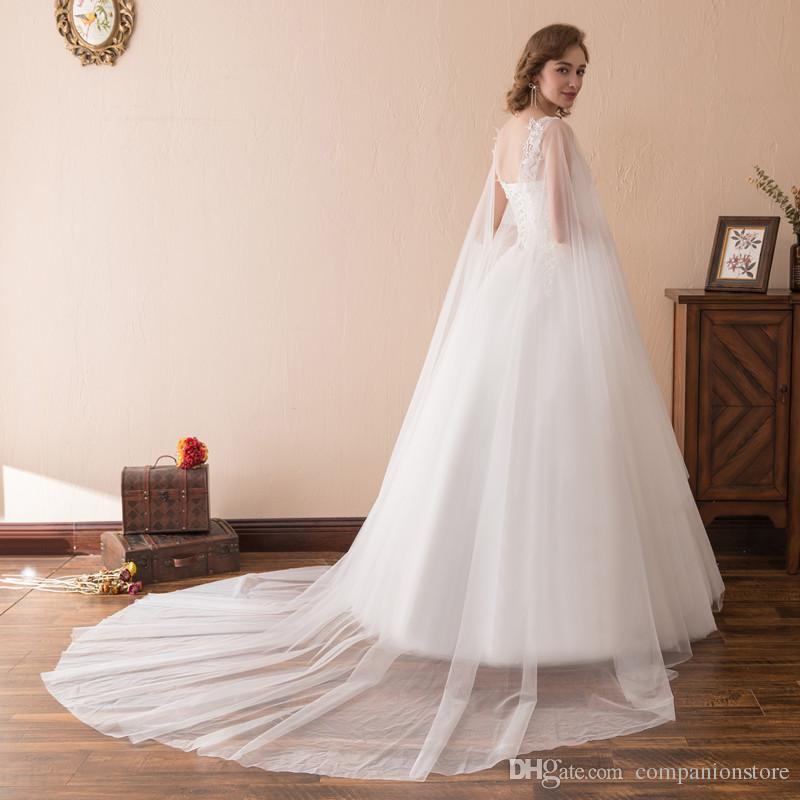 Really PhotoTulle With Long Sleeved Jacket Scoop Neck Backless Lace Up Beaded Appliques Ball Gown Court Train Wedding Dress Vestido de novia