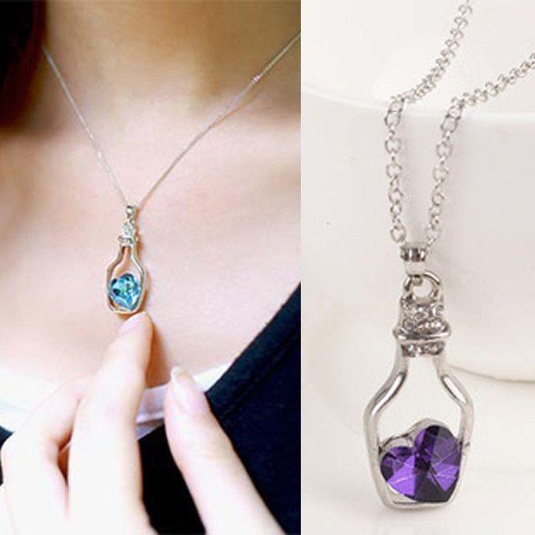 db29cfb5d Wholesale Pendant Necklaces Creative Women Fashion Necklace Ladies Popular  Style Love Drift Bottles Pendant Necklace Blue Heart Crystal Pendants  Picture ...