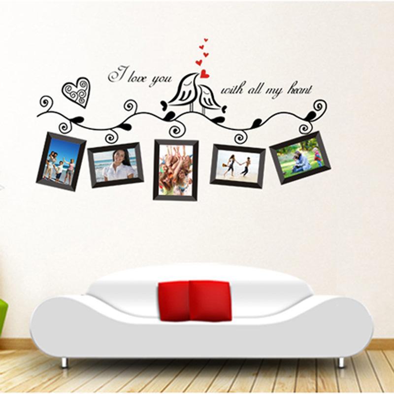 Camera di nozze Amore Uccelli Photo Frame Arte Romantica Stickers murali Adesivi murali Decorazioni la casa Poster fai da te vinilos paredes pegatinas order $ 18no track