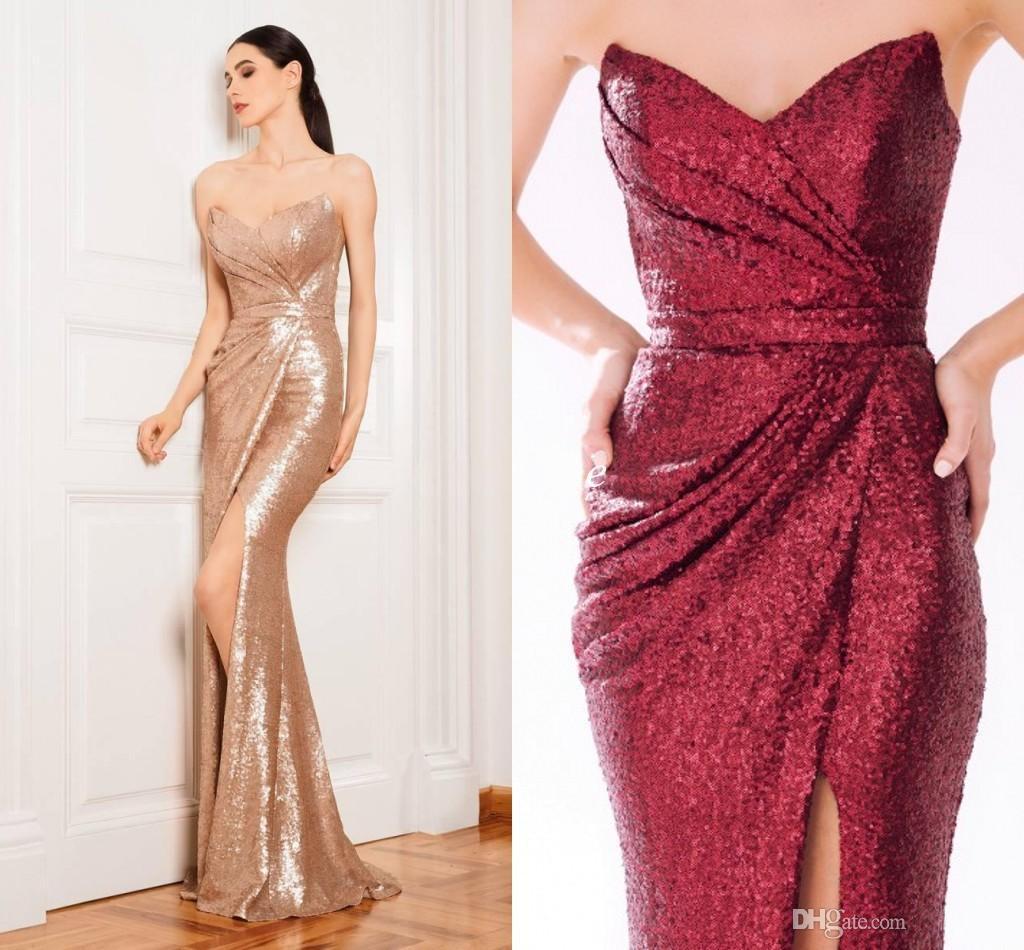 Großhandel Sparkly Rose Gold Abendkleider Lange Pailletten Prom ...