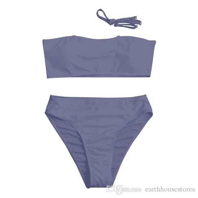 New Middle Waist Bikini Set Sexy 2018 Swimwear Swimsuit Bikinis Beach Bathing Suit Solid Swimming Wear With Padded from Reliable wear