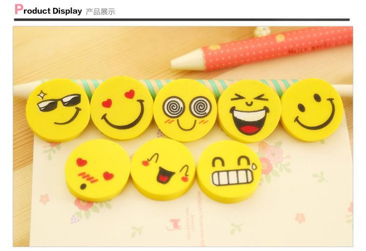 compre engraçado smile face erasers novelty school correção supplies