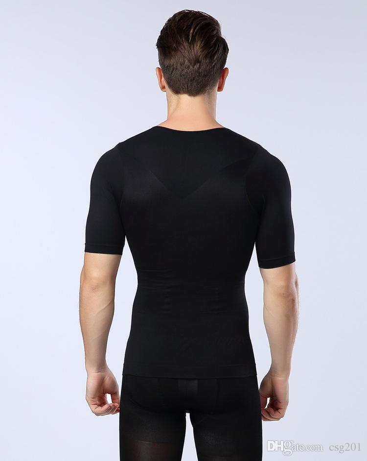 mens posture corrector camiseta camiseta del cuerpo del pecho apretado para los hombres cinturón de cintura reducir la grasa del vientre quemadura estómago shapewear negro blanco azul