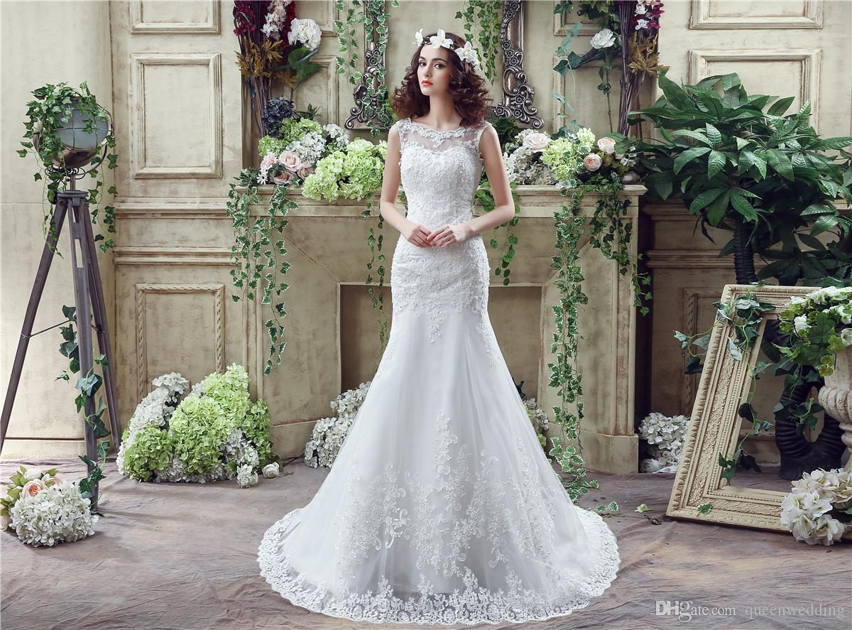 2016 In Stock Lace Mermaid Wedding Dresses Sheer Jewel