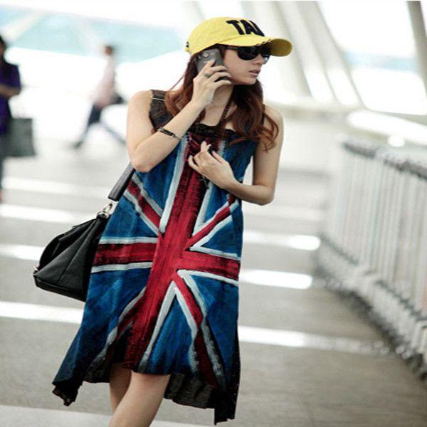 2014 New Women Hand Painted Punk Style Sleeveless Loose Big Hem Vest Geometric Casual Tank Dress