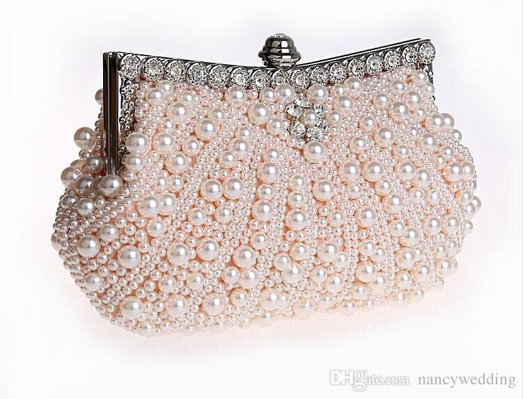 جميلة مطرز العاج الزفاف حقيبة يد الزفاف حقيبة الشمبانيا اللؤلؤ في حقائب نسائية مأدبة مساء حفلة موسيقية حقيبة مخلب
