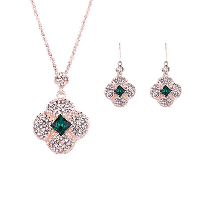 Rose Gold Plated Jewelry Sets For Women Crystal Flower Necklace