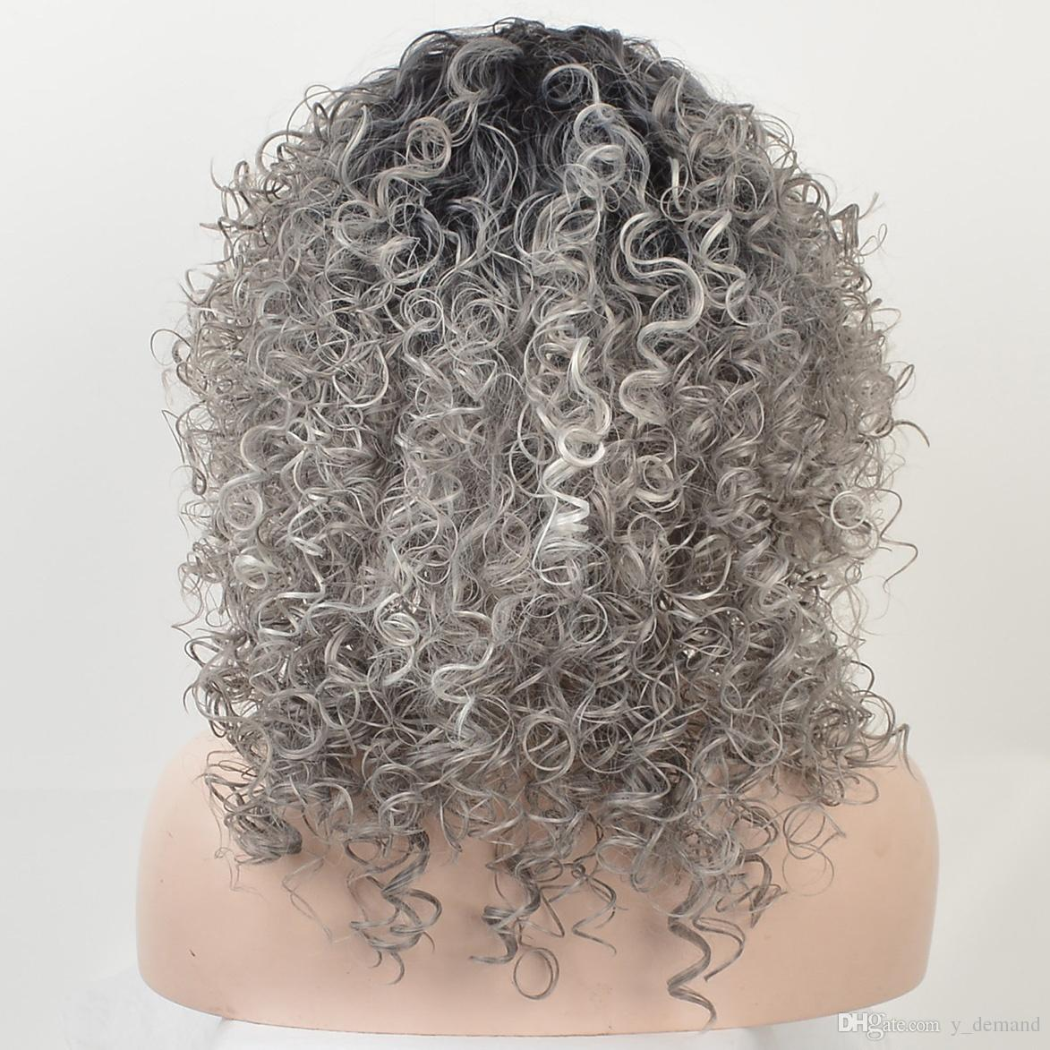 Pixie Cut Wigs Synthetic Hair Women Ombre Short Black Grey Natural None Lace Wigs Kinky Curly Fashion Afro Americain In Stock