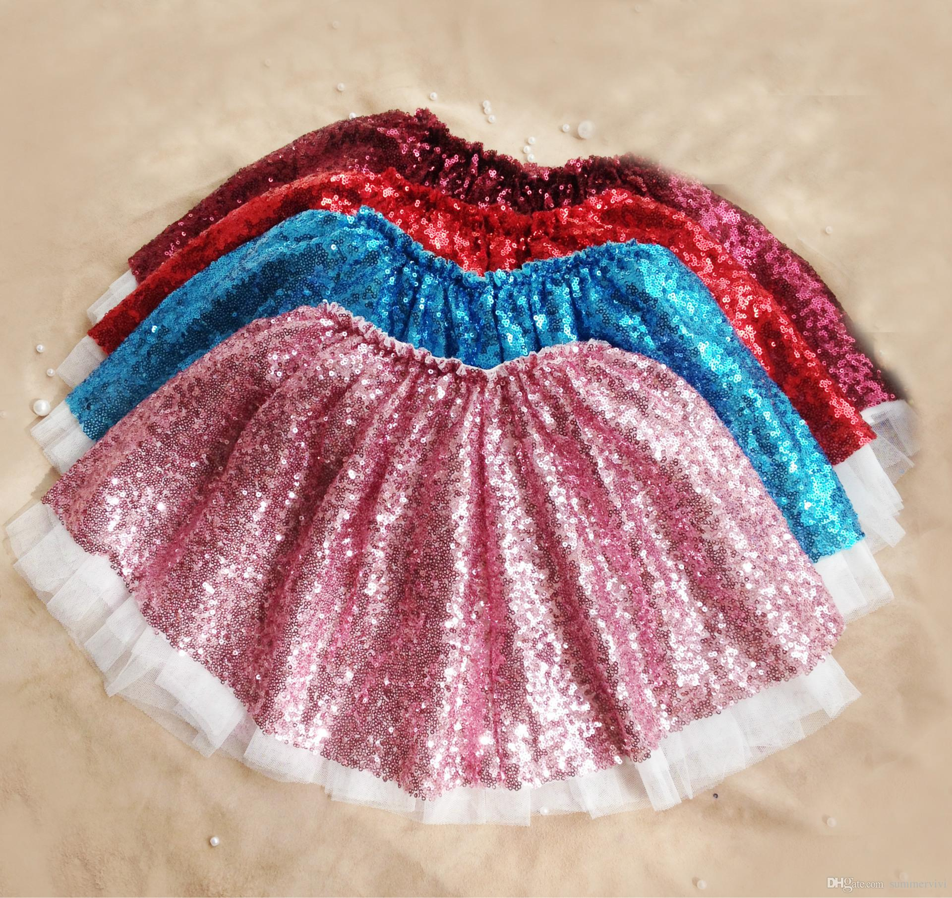 Wholesale Fashion New Girls Sequins Tutu Skirts Children Princess Skirt Kids Holiday Party Tulle A5171 By Summervivi Under