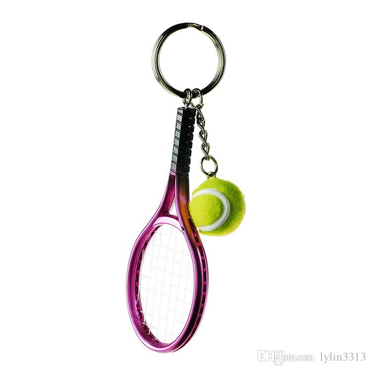 Colorful Mini Tennis Ball And Racket Keyring Zinc Alloy Keychains Sports Style Novelty Promotional Gifts High Quality