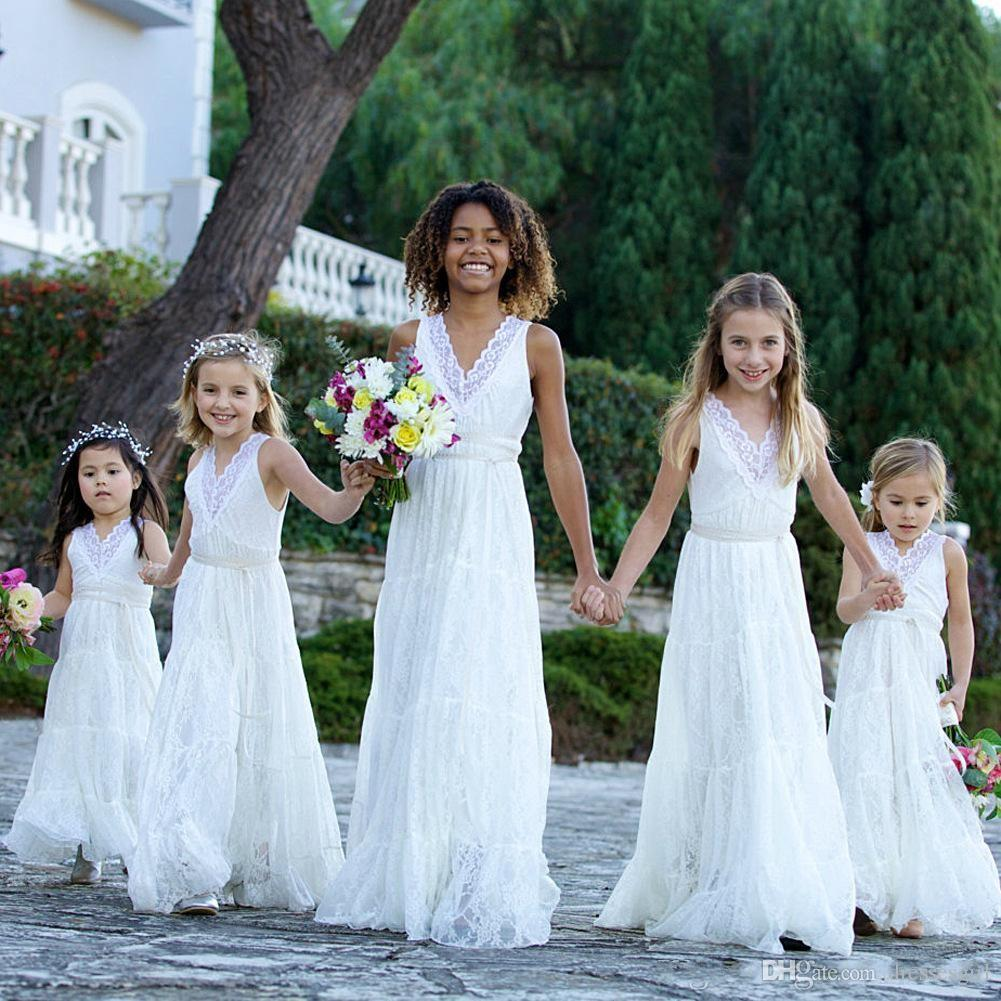Pretty Flower Flower Girl Dresses Long Junior abito da damigella d'onore Bohemian Garden V Neck Abito da comunione bambine