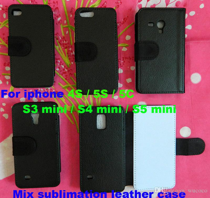 Mix for iPhone 4S 5S 5C S3 mini S4 mini S5 mini DIY sublimation Flip Leather blank case with card slot wholesale