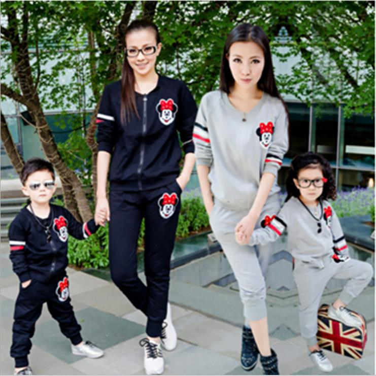 Fashion Black/Grey Mom And Daughter/Son Clothing Sets Long Sleeves Sports Coat Front Zipper ...