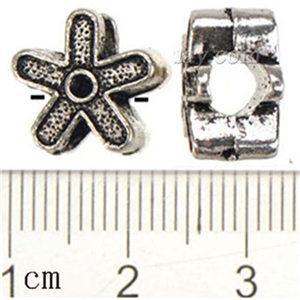 Pandora Slayt Boncuk Fit Avrupa Bilezik Kolye Kolye Kadın Çiçek Retro Gümüş Alaşım Tedarikçiler Takı Bileşenleri Için 12 * 8mm 100 adet