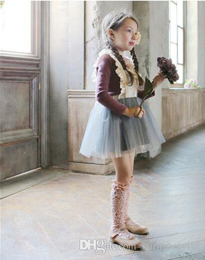 filles dentelle arcs jarretelles robes printemps nouvelle marque enfants vêtements coréenne bébé mode coréenne dentelle tulle princesse enfants fête robe A7171