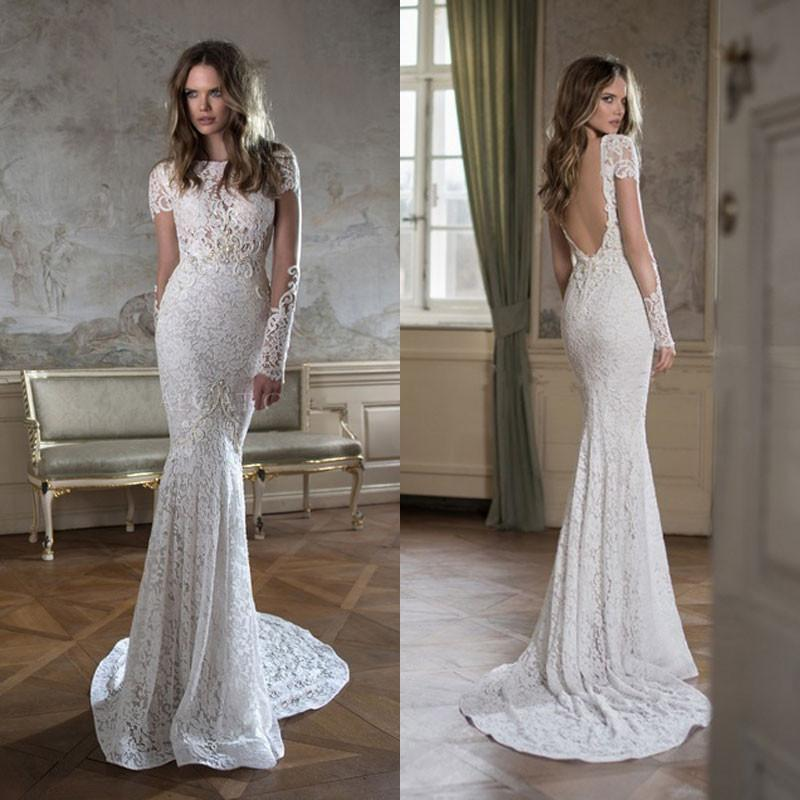 Robe De Soriee New Simple Wedding Dress Full Sleeve Lace: 2016 Backless Mermaid Full Lace Wedding Gowns Illusion