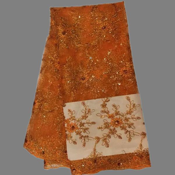 Vendita calda materiale di pizzo da sposa tessuto di pizzo netto africano bianco con paillettes tessuto di pizzo francese QN8-4
