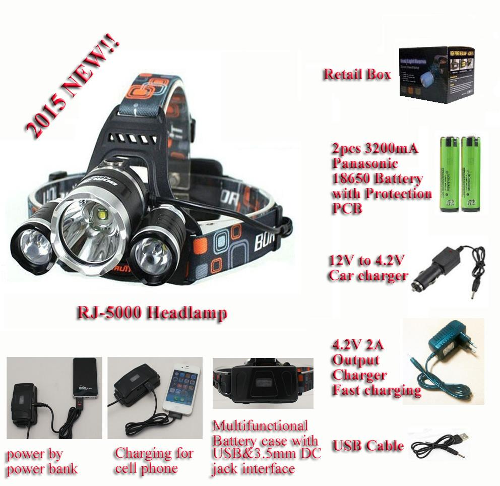 Running Time 5hours Boruit Rj 5000 Cree Xm L2 Led Headlamp With Headlamps Wiring Diagram Usb Cable3200ma Batteriescar Charger And 42v 2a Reviews From Roseyang