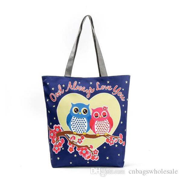 Women canvas tote bag animal owl print daily leisure carrying shoulder bag 5 patterns 10 by 14 inch