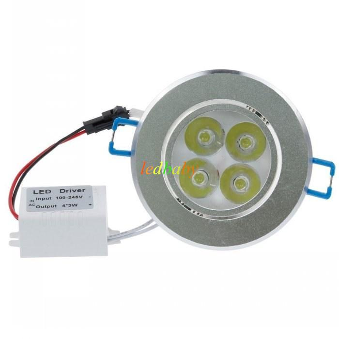 12W Dimmable Led Ceiling Down Light 4X3W CREE Led Downlights Warm/Natrual/Cold White CRI>85 AC 110-240V