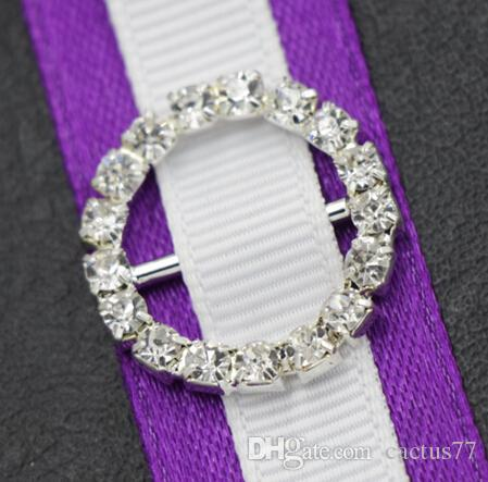 20mm Round / Heart Rhinestone Crystal Buckles Brooches 14mm Bar Invitation Ribbon Chair Covers Slider Sashes Bows Buckles Wedding Supplies