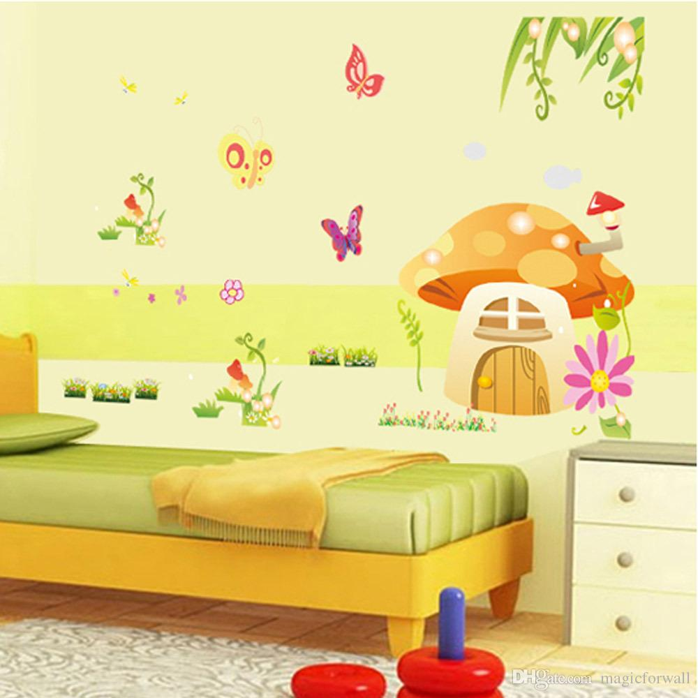 Kids&Baby Room Nursery Cartoon Wall Decorative Decal Stickers-Butterfly, Mushroom House, Flowers, Grass Wall Decor Murals Posters