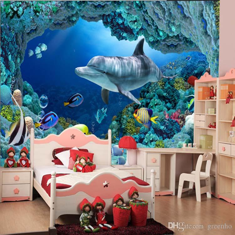 3d Wall Mural Underwater World Cute Fish Dolphin Large Wallpaper Art Home  Decoration Childrenu0027S Room Hallway Tv Background Wall Free Ship Computer  Wallpaper ... Part 37