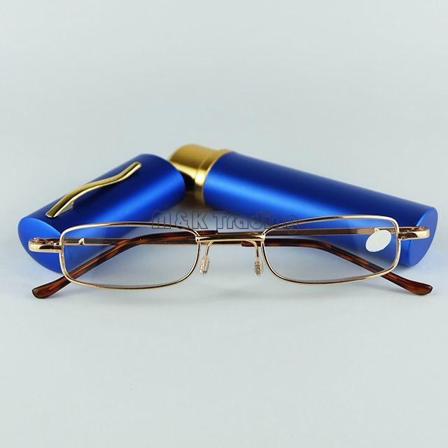 Hot Sale Tube Reading Glasses Metallläsning med penna Clic Reading Glasses /