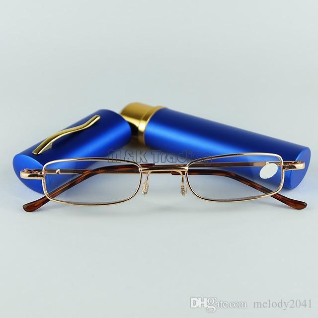 Tubo de Venda quente Óculos de Leitura de Metal Com Caneta Clic Óculos de Leitura 50 pçs / lote Remessa Gratuita