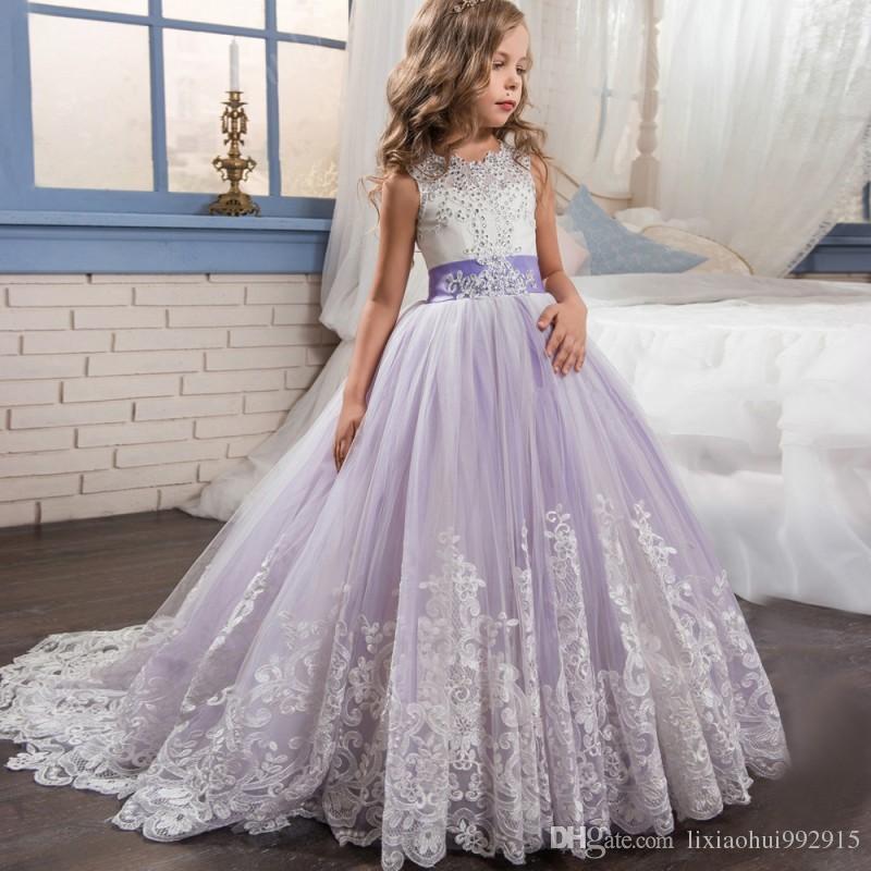 İki Parça El Yapımı Pageant Elbiseler ile Ceket Balığa Kızlar Çiçek Kız Kutsal İlk Communion Elbise Düğün için Örgün Kıyafet 2021