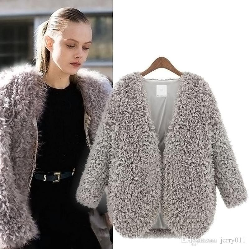 New Womens Fluffy Shaggy Faux Fur Cape Coat Jacket Winter Outwear ...