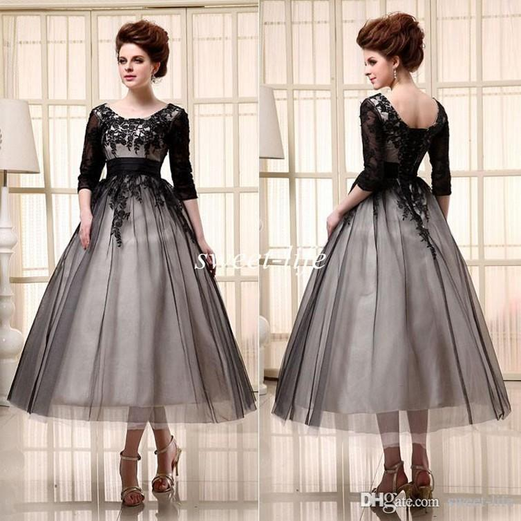 5e00815cbb8 2015 Black Cocktail Dresses Tea Length Half Sleeves Cheap In Stock Scoop  Tulle Lace Up Applique A Line Women Evening Gowns Party Prom Dress Petite  Cocktail ...