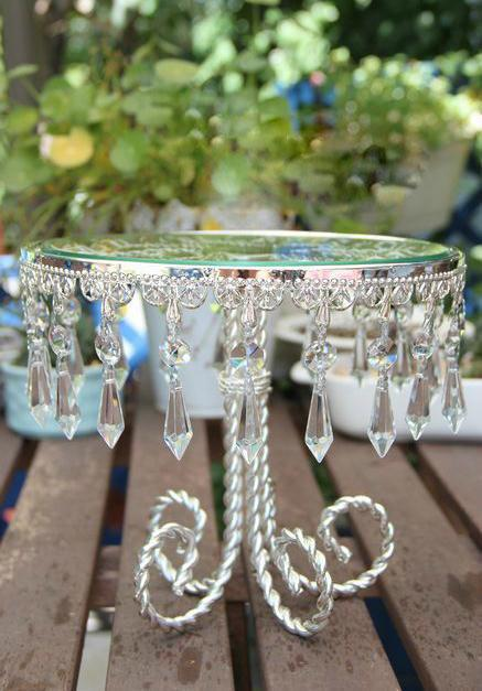 9 Silver Round Glass Crystal Metal Dessert Cupcake Stand