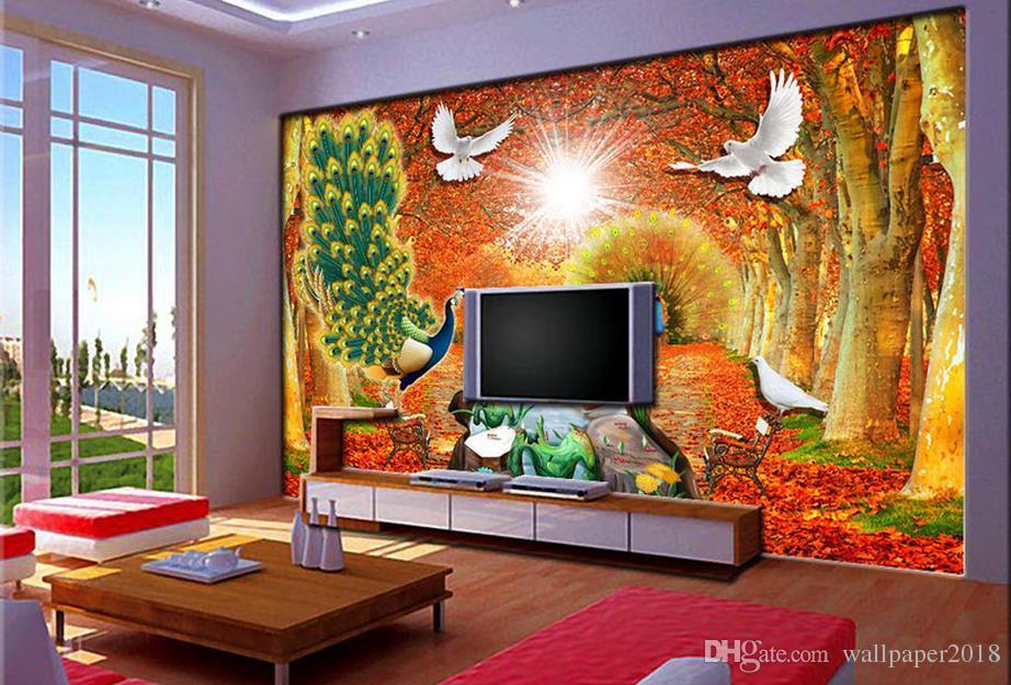 Pfau-goldene Alleenlandschaftswanddekorationsmalerei-Tischplattentapete