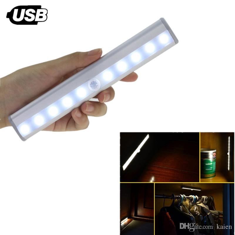 Online Cheap Led Cabinet Motion Sensor Under Closet Lights Bar,Usb  Rechargeable 10 Led Wardrobe Night Light With Adhesive Stick On Anywhere  For Cabinet/W By ...
