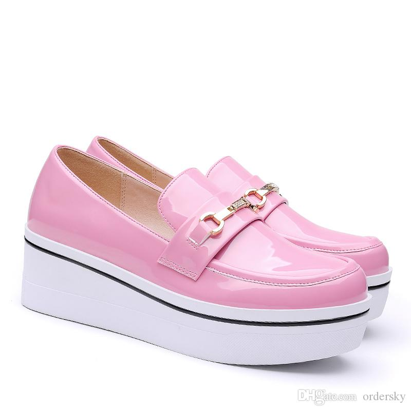 e1202a3c1a3 Spring Women s Thick Heel Platform Patent Leather Casual Sneakers Fashion  Girls  Hidden Wedge Heels Sports Shoes with Plating in 35-39 Hidden Wedge  Heels ...