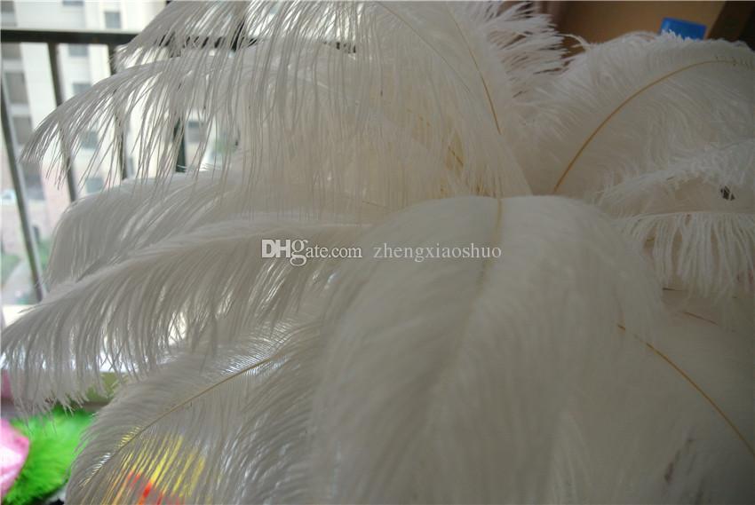Vali Doğal Devekuşu Tüy Saf Beyaz 12-14 inç Düğün Dekorasyon masa Centerpieces ayıklaması centerpiece dekor parti kaynağı