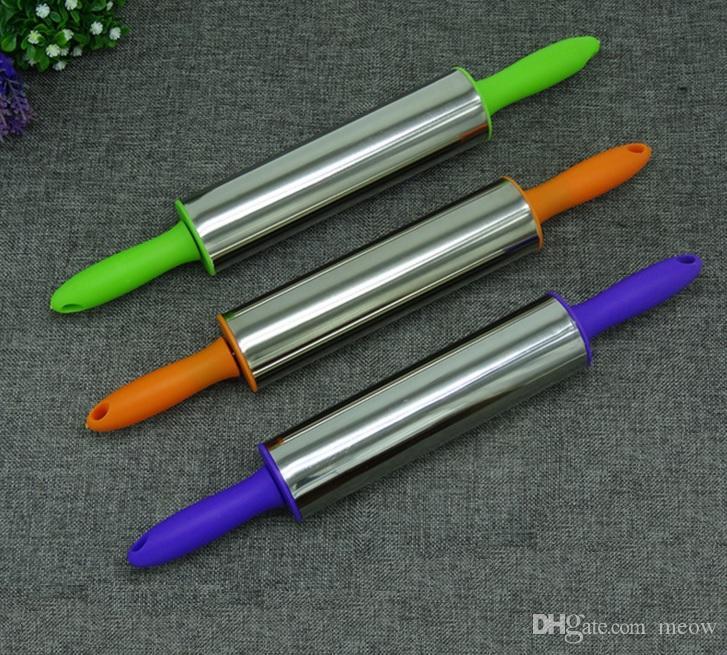 Aço inoxidável rolo de metal pino colorido alça de forma redonda cores podem variar rolos massa para a perfeição