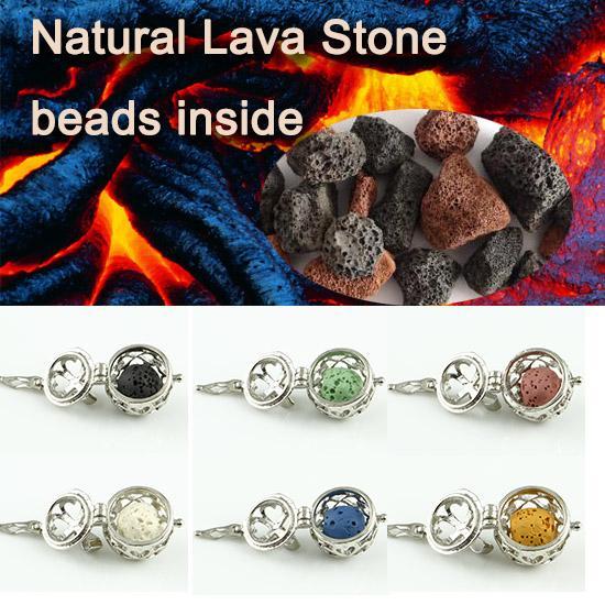 Colgante de organza calado difusores colgantes al por mayor collar de difusor de aceite esencial difusor de aceite esencial piedra de lava natural