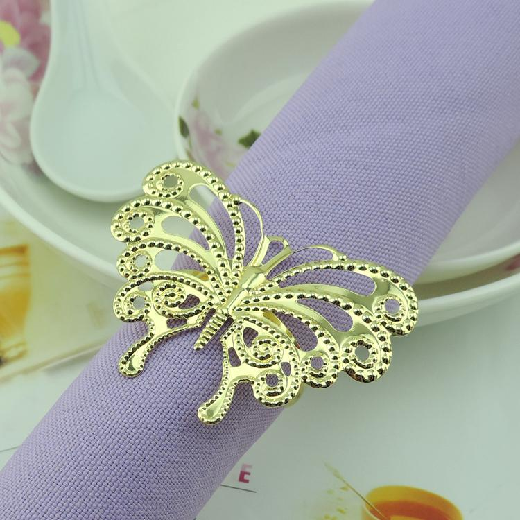 2015 fashion gold butterfly napkin ring metal wedding napkin holder for hotel wedding banquet table decoration accessories rustic napkin rings seahorse - Rustic Hotel 2015