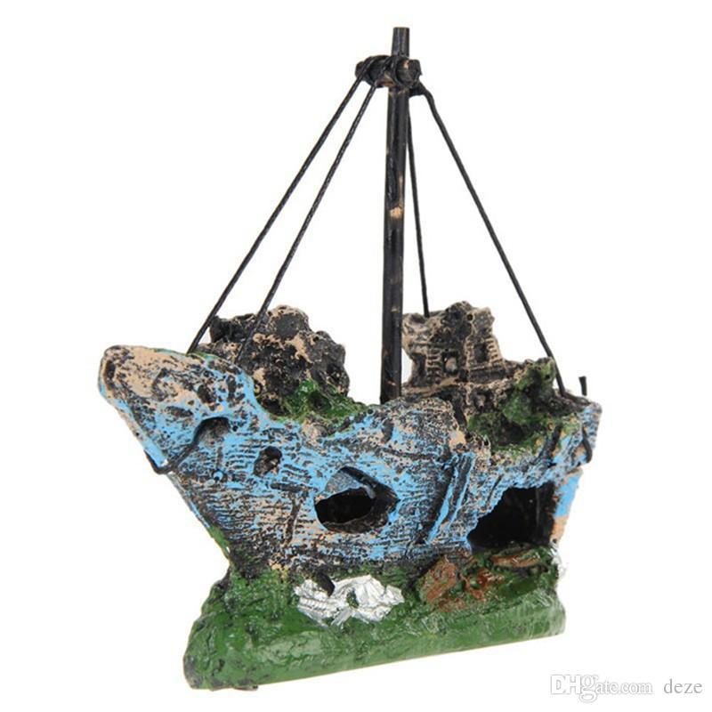 NOUVEAU 3 modèles Accueil Fish Tank Aquarium résine Ornement Paysage épave Coulé Destroyer Bateau à voile Bateau Aquarium Décoration