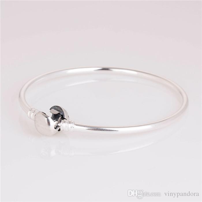 Bracelet en argent sterling 925 avec fermoir à pression pour breloques et perles de style européen