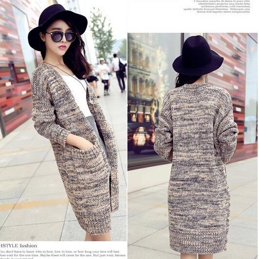 2018 Autumn Winter Maxi Long Coat Knitted Cardigan Female Loose ...
