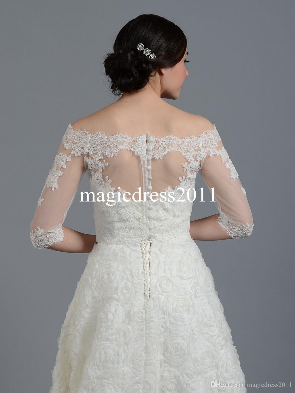 Sheer Lace Encolure 2019 Vestes de mariée Wraps Châle Boléro Shrugs Stole Cape Caps manches demi Tulle demoiselle d'honneur robe de mariée Wrap FJ012