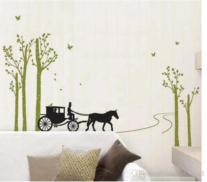 Carriage in the Forest Wall Art Mural Decor Sticker Birds in the Woods Living Room Wall Decal Home Decor Wall Applique
