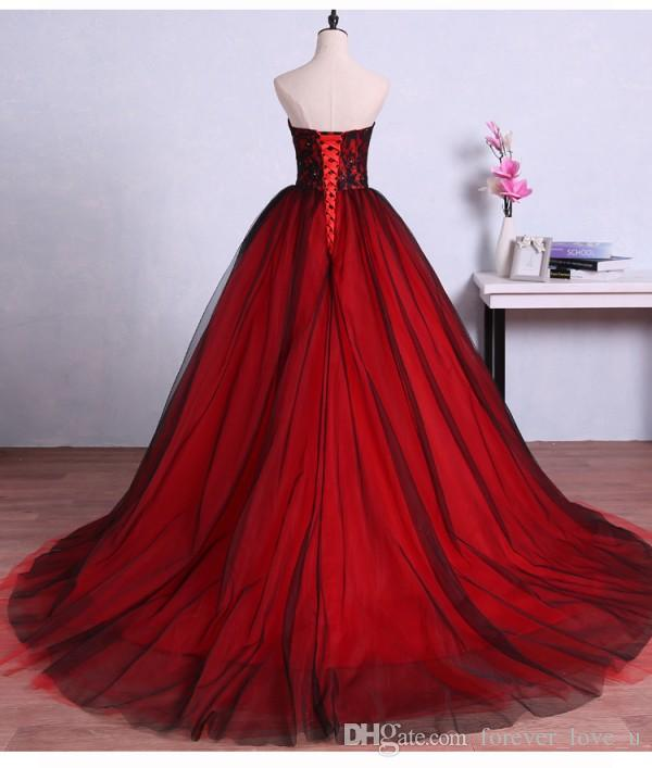 2019 Red and Black Ball Gown Prom Dress Sweetheart Sleeveless Beads Lace Corset Lace-up Back Tulle Evening Party Gowns Custom Made
