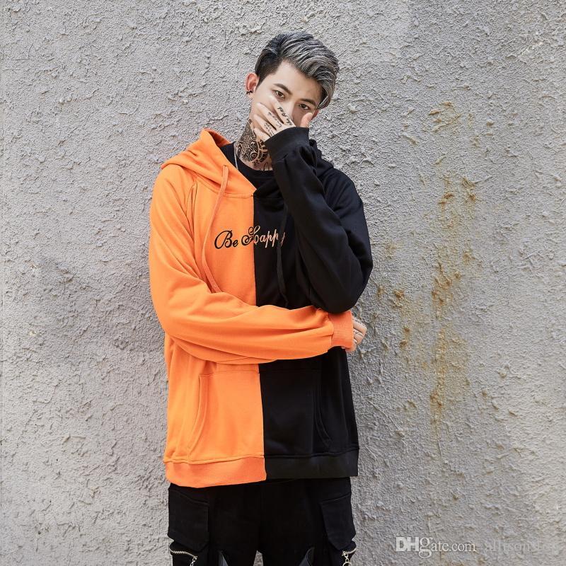 Высокое качество мужские смайлик печатных толстовки цвет блока любителей лоскутное Толстовка для мужчин с длинным рукавом хип-хоп прохладный дизайнер спортивные пальто черный