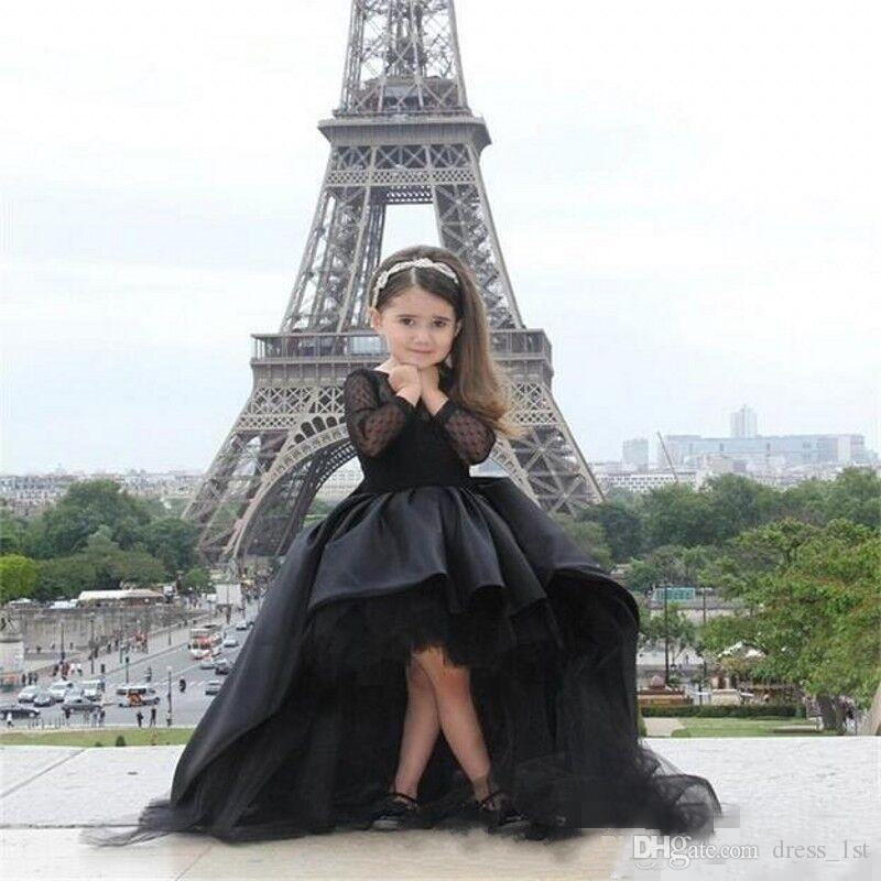 2016 Long Sleeves Little Girls Pageant Dresses Black HIGH LOW Jewel Flower Girl Dresses For Teens Formal Holy Communion Dresses EN9084