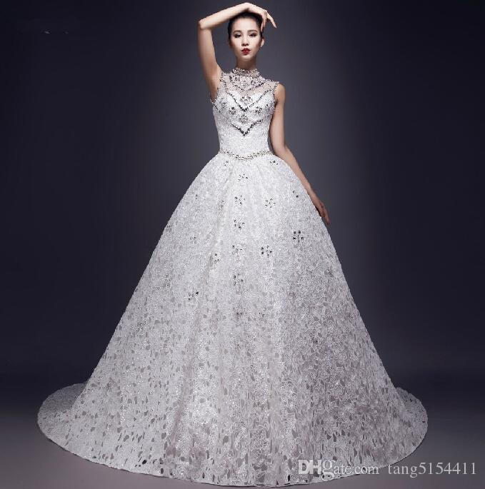 High End Custom Ball Gown Count Train High Neck Wedding Dress For ...